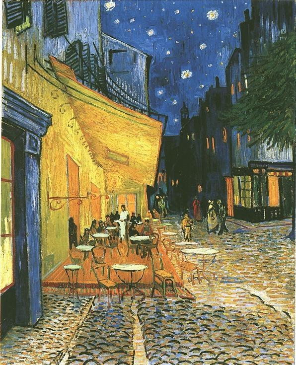 vincent van gogh,terrazza del caffè la sera,dipinti
